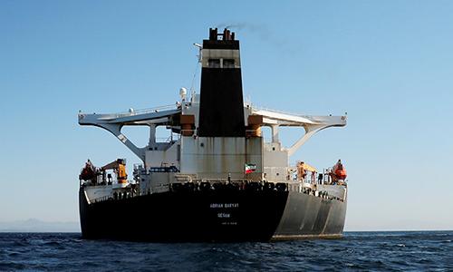 Tàu dầu Adrian Darya 1 thả neo ngoài khơi lãnh thổ Gibraltar của Anh ngày 18/8. Ảnh:Reuters.