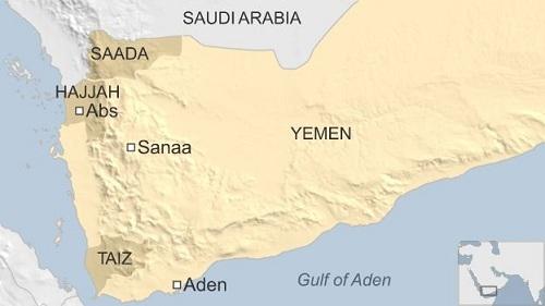 Vị trí hai tỉnh  Saada và Hajjah của Yemen. Đồ họa: BBC.