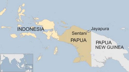 Vị trí tỉnh Papua của Indonesia. Đồ họa:BBC.