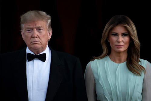 Tổng thống Mỹ Donald Trump và Đệ nhất phu nhân Melania trong lễ chào đón Thủ tướng Australia hôm 20/9. Ảnh: AFP.