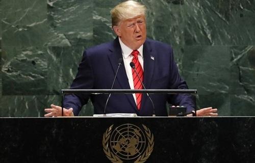 Tổng thống Mỹ Donald Trump phát biểu trong phiên họp thứ 74 của Đại hội đồng Liên Hợp Quốc tại New York hôm 24/9. Ảnh: Reuters.
