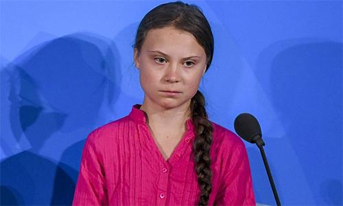 Greta Thunberg phát biểu ở Liên Hợp Quốc hôm 23/9. Ảnh: AFP.