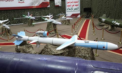 Tên lửa hành trình và UAV được Houthi ra mắt hồi tháng 7. Ảnh: Reuters.