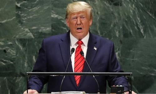 Tổng thống Mỹ Donald Trump phát biểu trước Đại Hội đồng Liên Hợp Quốc ở New York ngày 24/9. Ảnh: Reuters.