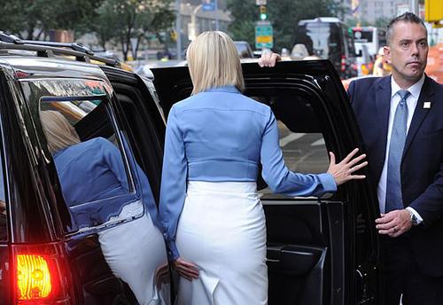 Hình ảnh lúc Ivanka rời nhà đến Liên Hợp Quốc cho thấy cô có mặc áo lót bên trong sơmi. Ảnh: Daily Mail