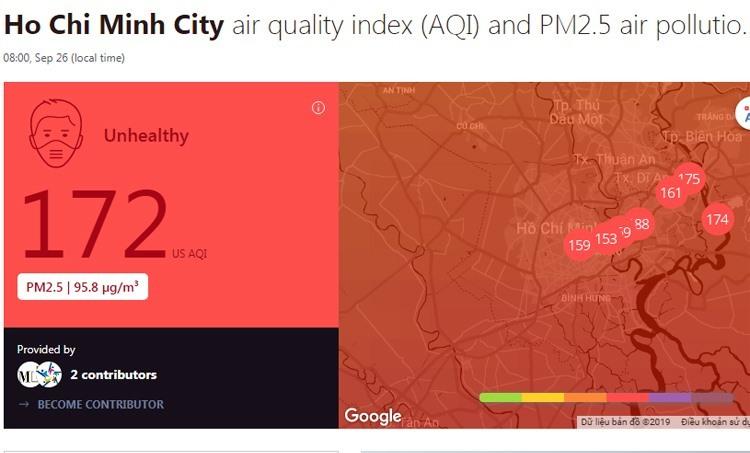 Cảnh báo mức độ ô nhiễm không khí tại TP HCM trên trang AirVisual sáng 26/9.