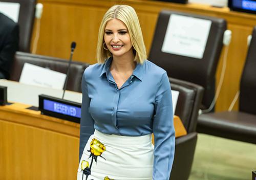 Trang phục bị chỉ trích của Ivanka tại Liên Hợp Quốc hôm 23/9. Ảnh: AFP