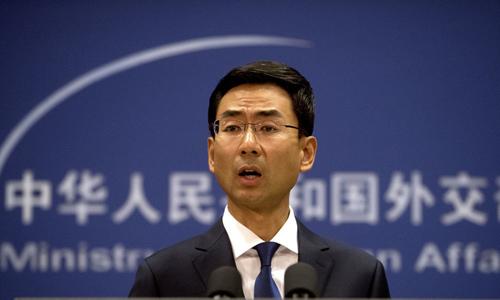 Người phát ngôn Bộ Ngoại giao Trung Quốc Cảnh Sảng tại buổi họp báo thường kỳ ở Bắc Kinh hôm 24/9. Ảnh: Chinadaily.
