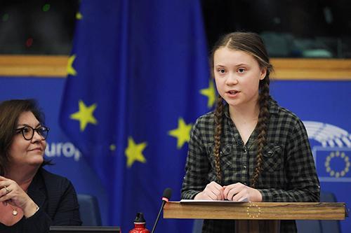 Thunberg phát biểu tại một cuộc tranh luận của Ủy ban Môi trường, Sức khỏe công cộng và An toàn Thực phẩm thuộc Liên minh châu Âu ở Strasbourg, Pháp hồi tháng 4. Ảnh: AFP