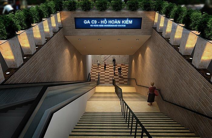 Phối cảnh nhà ga ngầm C9 - Hồ Hoàn Kiếm. Ảnh: MRB