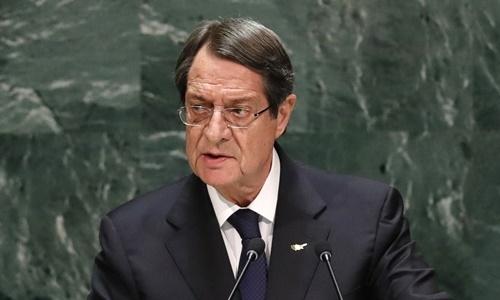 T?ng th?ng Cyprus Nicos Anastasiades phát bi?u t?i cu?c h?p c?a ??i h?i ??ng Liên H?p Qu?c ? New York ngày 26/9. ?nh: Reuters.