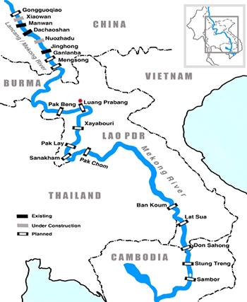 Vị trí dự án đập thuỷ điện Luang Prabang (chấm đỏ) cùng các đập khác trên sông Mekong. Đồ hoạ: Thai PBS News