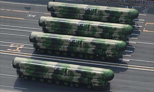 Tên lửa đạn đạo xuyên lục địa DF-41 trong lễ duyệt binh kỷ niệm 70 quốc khánh Trung Quốc tại Bắc Kinh ngày 1/10. Ảnh: CSIS.