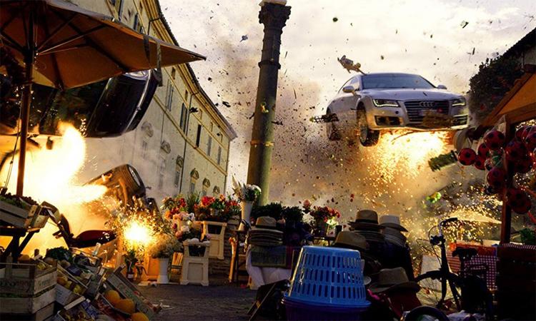 Một cảnh trong phim với một chiếc Audi bay lên không.