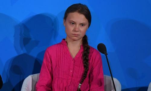 Nhà hoạt động Greta Thunberg tại Hội nghịHành động vì Khí hậu ở trụ sở Liên Hợp Quốc, New York, Mỹ hôm 23/9. Ảnh: AFP.