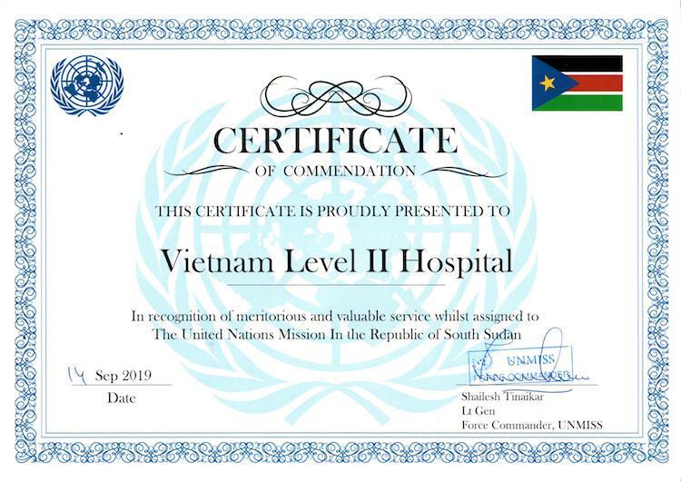 Bằng khen của Tư lệnh các lực lượng quân sự Phái bộ dành cho bệnh viện dã chiến cấp 2 số 1 của Việt Nam tại Nam Sudan.
