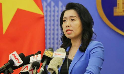 Người phát ngôn Lê Thị Thu Hằng trong cuộc họp báo hôm 12/9. Ảnh: Bộ Ngoại giao.