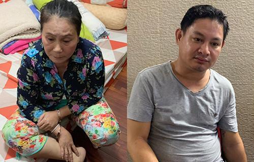 Hai mẹ con Hương - Thanh tại cơ quan điều tra. Ảnh: Công an cung cấp.