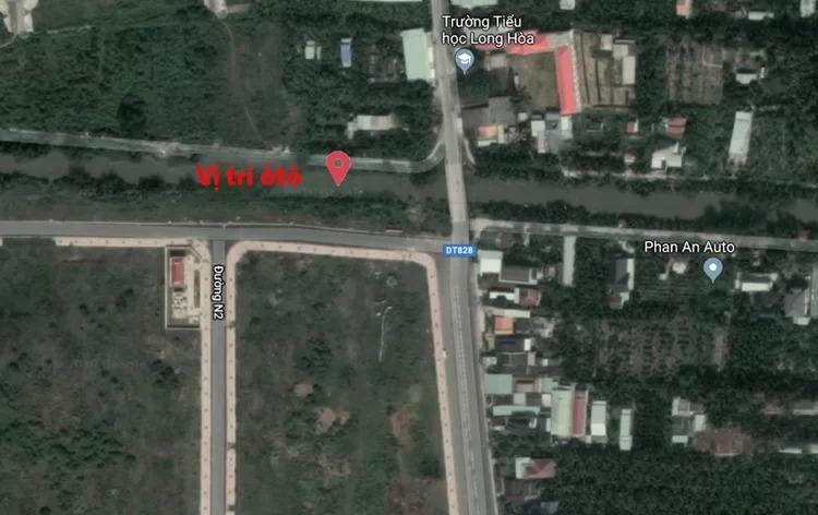 Vị trí ôtô được tìm thấy dưới kênh gần với nhà các nạn nhân (Phan An Auto). Ảnh: Google maps.