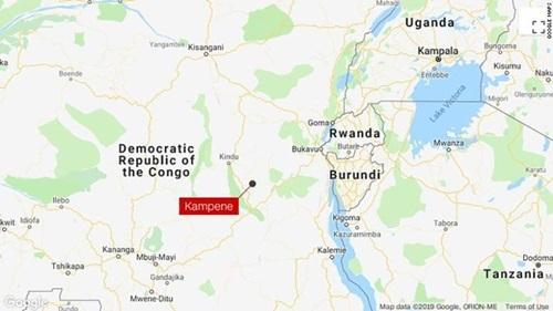 Vị trí thị trấn Kampene ở phía đông Congo, nơi xảy ra vụ sập mỏ vàng khiến 22 người chết. Đồ họa: CNN.