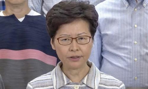Trưởng đặc khu Hong Kong Carrie Lam trong bài phát biểu trên truyền hình hôm nay. Ảnh: SCMP.