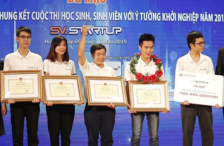 Nhóm sinh viên Đại học Bách khoa Hà Nội giành giải cao nhất cuộc thi HSSV với ý tưởng khởi nghiệp. Ảnh: Thanh Hằng