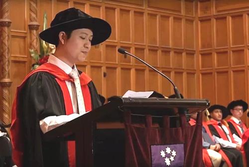 Lê Anh Linh phát biểu trong buổi lễ tốt nghiệp. Ảnh: Nhân vật cung cấp