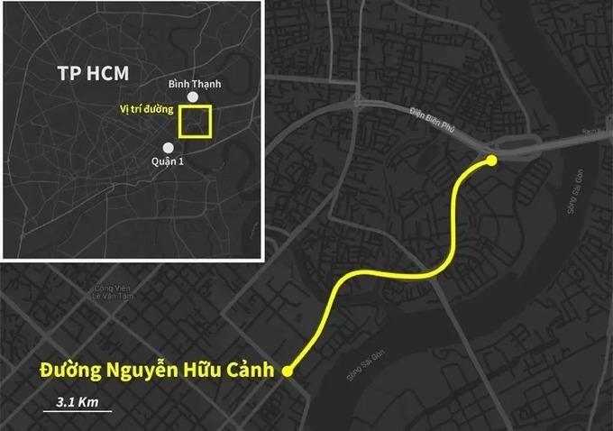 Xe hỗn loạn trên đường Nguyễn Hữu Cảnh