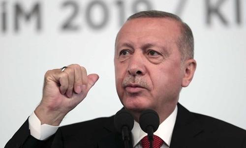Tổng thống Thổ Nhĩ Kỳ  Recep Tayyip Erdogan trong một sự kiện ở Ankara hôm 5/10. Ảnh AP.