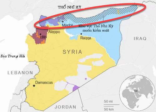 Thổ Nhĩ Kỳ muốn đẩy dân quân người Kurd khỏi biên giới phía nam giáp Syria. Đồ họa: HAL.