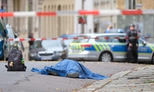 Hiện trường vụ xả súng tạiHalle, đông Đức ngày 9/10. Ảnh: AFP.