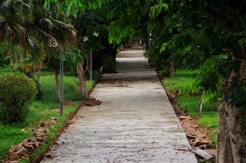Tuyến đường đi bộ đang được xây dựng trong công viên Thương Bạc. Ảnh: Võ Thạnh