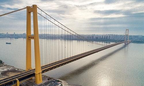 Cầu treo hai tầng Dương Tứ Cảng. Ảnh: Xinhua.
