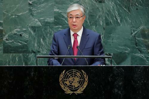 Tổng thống Kazakhstan Kassym-Jomart Tokayev phát biểu trong phiên họp thứ 74 tại Đại Hội đồng Liên Hợp Quốc ở New York, Mỹ ngày 24/8. Ảnh: Reuters.