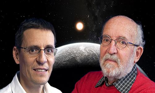 Michel Mayor(trái) và Didier Queloz,đồng chủ nhân giải thưởng Nobel Vật lý 2019. Ảnh:MyScience.