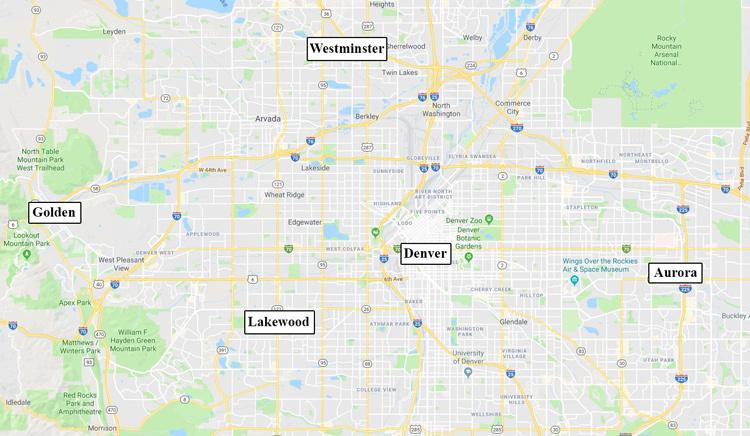 Các vụ hiếp dâm xảy ra cách xa nhau nhưng đều xoay quanh Denver. Ảnh: Google Maps.