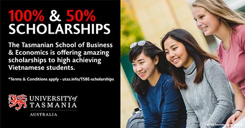 Học bổng tới 100% Đại học Tasmania, Australia