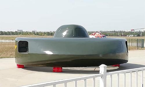 Mẫu trực thăng chiến đấu dạng tròn có tên Cá mập trắng siêu lớn tại triển lãm trực thăng diễn ra ngày 10-13/10 ở thành phố Thiên Tân, Trung Quốc. Ảnh: Drive.