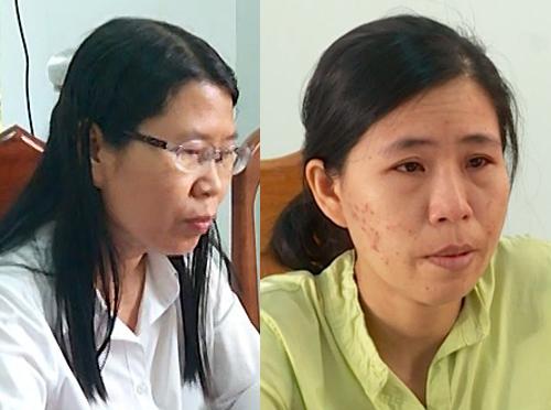 Trần Thị Hằng (trái )vàLê Thị Thu Uyên lúc bị bắt. Ảnh:Công an cung cấp.