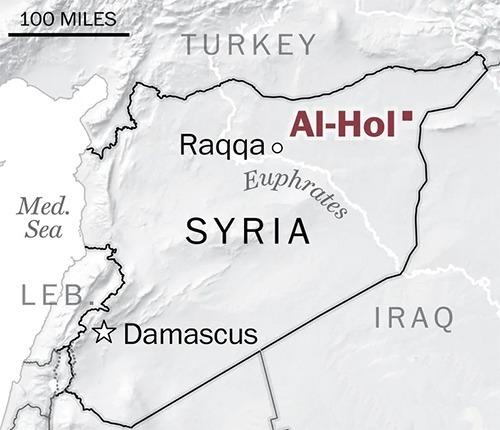 Vị trí trại tị nạn Al-Hol tại Syria. Đồ họa: WSJ.