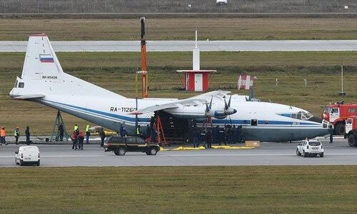Vận tải cơ An-12 Nga hạ cánh khẩn cấp tại thành phố Yekaterinburg ngày 10/10. Ảnh: Sputnik.