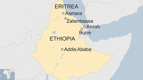 Vị trí Ethiopia và nước láng giềng Eritrea ở vùng Sừng châu Phi. Đồ họa: BBC.