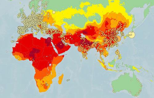 Bản đồ toàn cầu đo bụi mịn PM2.5, kết hợp dữ liệu đo năm 2018 và dữ liệu mẫu năm 2016. Ảnh: WHO.