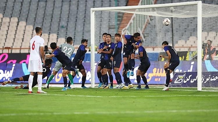 Iran ghi những bàn thắng dễ dàng vào lưới Campuchia. Ảnh: AFC.