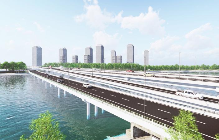 Phối cảnh kiến trúc dự án hai cầu đi thấp qua hồ Linh Đàm. Ảnh ban quản lý dự án cung cấp.