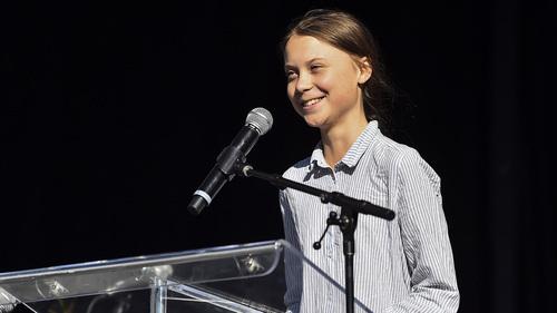 Greta Thunberg diễn thuyết tại thành phố Denver, bang Colorado ngày 11/10. Ảnh: CBS.