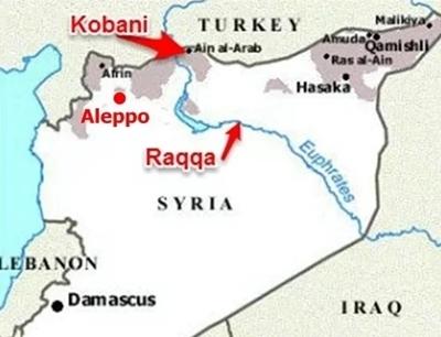 Vị tri của Kobani. Đồ họa: MM.