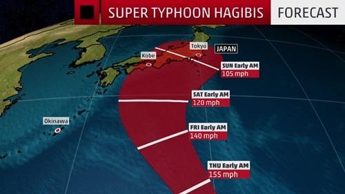Đường đi dự kiến của bão Hagibis. Đồ họa: Weather.