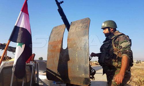 Binh sĩ quân đội chính phủ Syria tại thị trấn Tel Tamer. Ảnh: SANA.