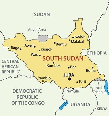 Bản đồ Nam Sudan. Ảnh: Shutterstock